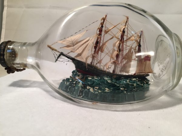 antiqque ship in a pinch bottle