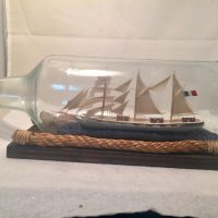 French Ship in a bottle antique6