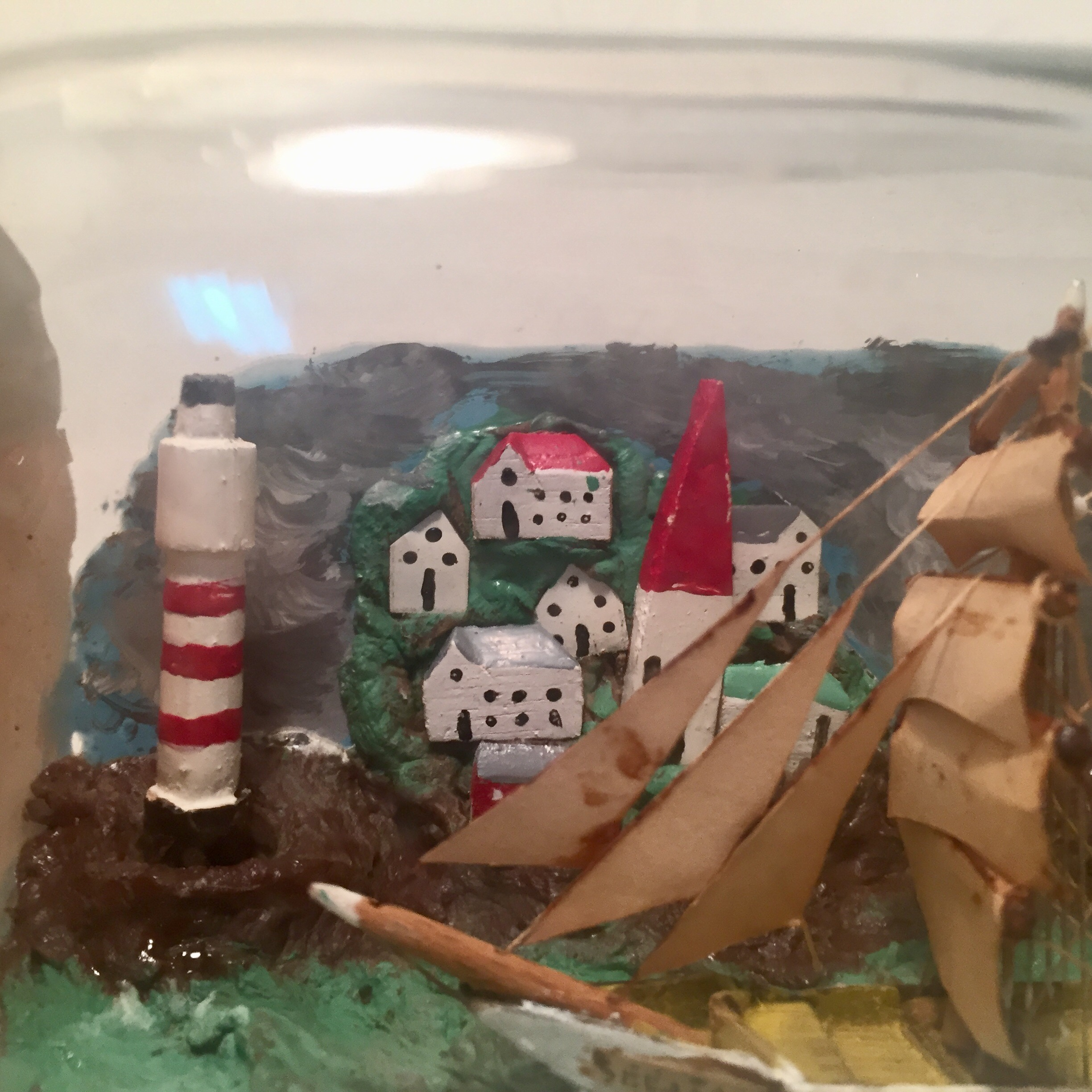 Antique European Diorama Ship in a bottle