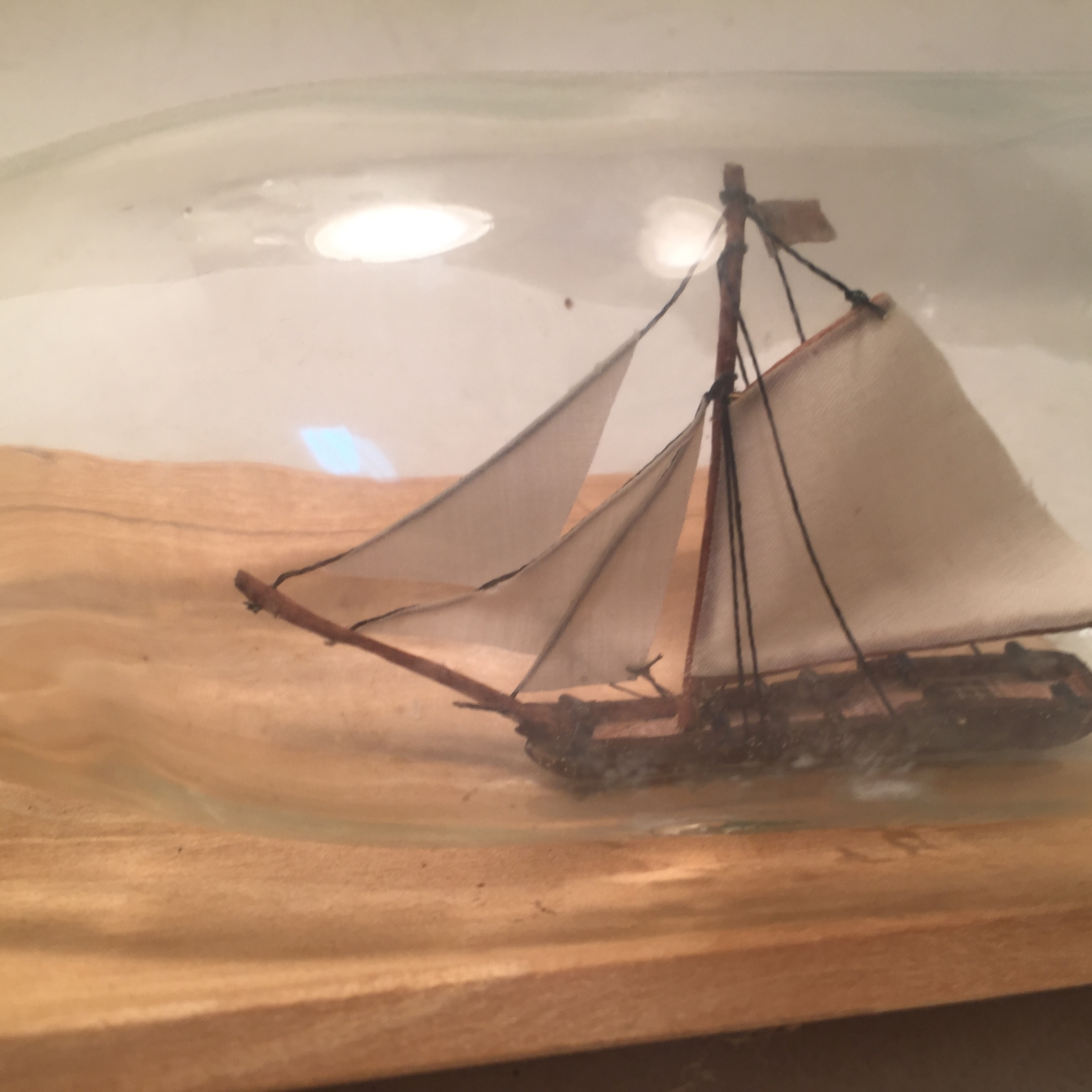 Gaff rigged ship in a bottle