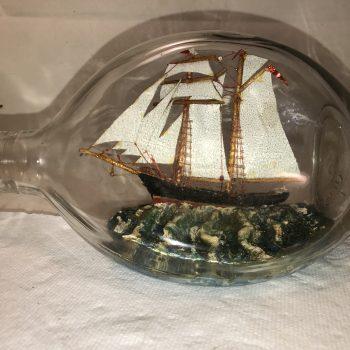 Dual masted schooner in a pinch bottle