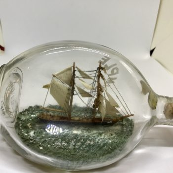 Dual masted Barque in a pinch bottle
