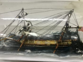 I present the HMS Pantaloon a 10 gun brig. If you want history or Provenance I proudly offer up this museum quality ship in a bottle