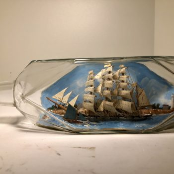 Beautiful 4 masted diorama ship in a bottle