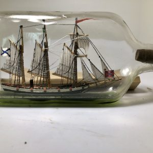 Museum quality Schooner in half pint bottle