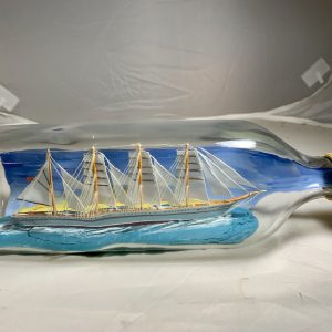 Pristine 4 masted fully rigged ship in a bottle