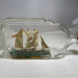 Antique Tri masted barque in Art Deco Bottle