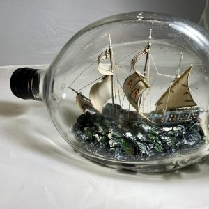 Very Old English Caravel Sailing ship in Pinch bottle