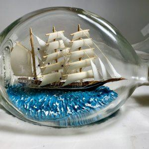 Antique Tri masted Barque in Pinch bottle